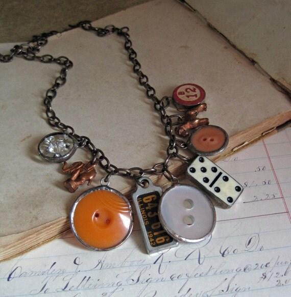 Retro Button Charm Long Necklace Statement Jewelry Autumn Orange