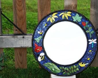 """Mosaic Stained Glass Mirror 18"""" Round Garden Alive"""