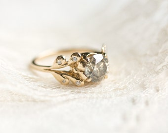 Champagne Diamond Wisteria Engagement Ring in 14k Yellow Gold - 2 Carat Diamond Ring with Leaf Sides