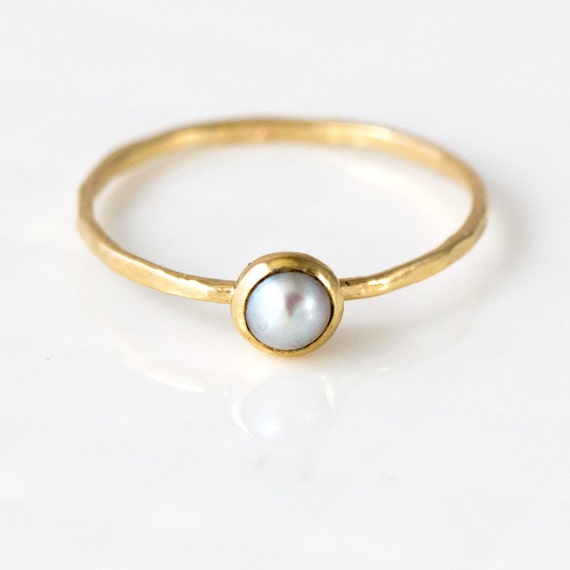 Pearl Ring in 14k Gold // White Akoya Pearl and a Delicate Gold Stacking Ring // Stackable Pearl Ring with Bezel Set White Akoya Pearl