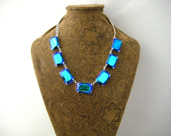 Mega Size Swarovski Emerald Glacier Blue Rhinestone Choker Necklace, Anna Wintour Inspired, Silverplated Offset Settings Big Stones Necklace