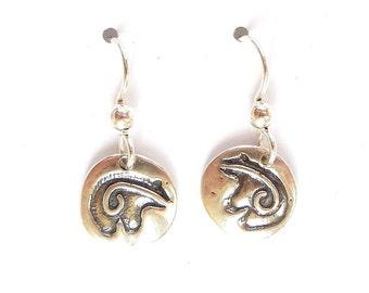 sterling bear fetish earrings, spiral spirit line jewelry, southwest accessory, archeology gift
