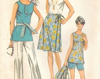 Simplicity 9428 1970s Half Size Wrap-Around Skirt Top Pants and Short Vintage Sewing Pattern Bust 41
