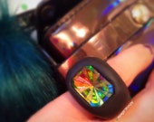 Holographic Starburst Ring - Holographic Jewelry - Plastic Jewelry - Rainbow Jewelry - Chunky ring - Clay Jewelry - Clay ring
