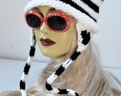 Knitted White and Black Striped Kitty Hat with Cat Ears