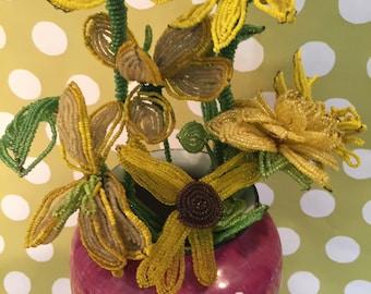 Beaded Flowers...Yellow Glass