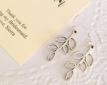 Bridesmaids gifts, silver plated leaf earring.