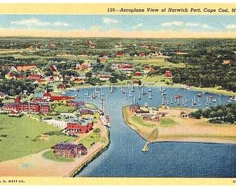 Vintage Cape Cod Postcard - Aerial View of Harwich Port (Unused)
