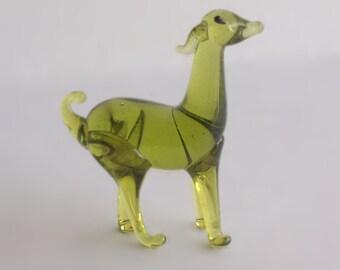 Green Goat Miniature, Deer Figurine, Hand Blown Glass Animal, Minature Animal Figurine, Dollhouse Collectible, Collectible Animal Figure