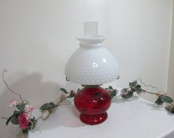 Ruby Red Oil Lamp with White Hobnail Shade over Hurricane Chimney