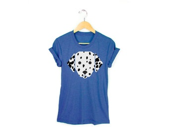 Geo Dalmatian Tee - Boyfriend Fit Crew Neck T-shirt with Rolled Cuffs in Heather Royal Blue and White - Women's Size S-4XL