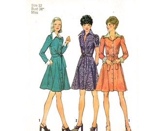 1970s Vintage Dress Pattern Simplicity 6554 Shirtwaist Dress Button Front Collar Shirt Dress Gored Skirt Womens Sewing Pattern Bust 34 UNCUT