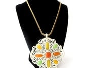 1970s Florescent Green, Orange & Yellow Lucite Cabochon Gold Tone Metal and White Enamel Filigree Statement Pendant Necklace