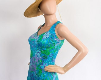 Vintage 60s Mod Floral Bathing Suit / Bombshell Pinup Retro Swimsuit Maillot One Piece / 1960s Flower Print / 1970s Bather / Sz 14 / Large