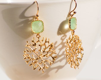 Mint Green & GOLD Coral Lace Earrings Wedding Green Bridal Gold Beach Ocean
