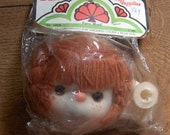 "vintage 80s Darice plastic doll head and hands reddish orange Braided yarn hair approx 4 1/2"" NIP  Dumplin Mitzy Tu tti Frutti t#005"