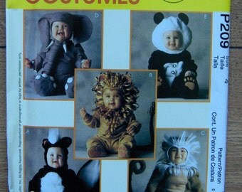 1997 McCalls sewing pattern P209 Tom Arma Costumes for Toddlers sz 4  -  Skunk, Lion, Monkey, Elephant, Panda  uncut