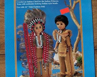 1993 fibre craft crochet pattern INDIAN CHIEF