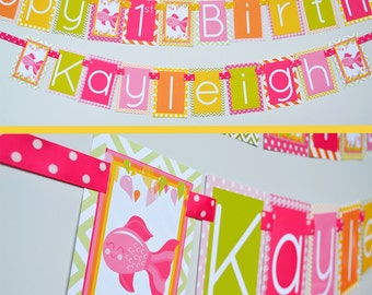 Fish Birthday Party Banner Fully Assembled Decorations | Girly Fish Banner | Pink Fish Birthday | Fish Decorations | Fishing Party