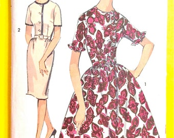 Advance 2969  early 1960s Junior and Misses' Dress Two Skirts Vintage Sewing Pattern Bust 33 Hip 35