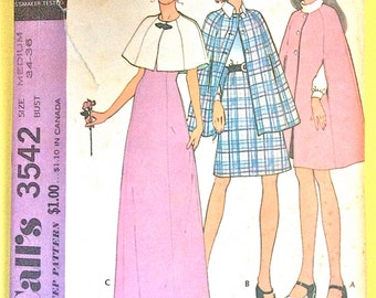 McCall's 3542 Misses' Cape, Capelet, Poncho, A-Line Skirt, Maxi Skirt Buttoned cape, side seam arm opening Vintage Sewing Pattern Bust 34 36