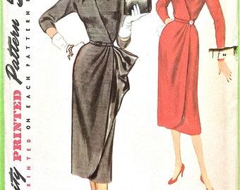 Uncut 1950s Surplice Dress Pattern Simplicity 4832 Misses' One-Piece Dress Drape Dress Pleated Wrap Dress Vintage Sewing Pattern Bust 32