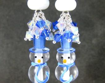 Snowman Earrings, Blue White Crystal Dangle Earrings, Winter Jewelry, Hanukkah Earrings, Christmas Earrings, Holiday Jewelry, Lampwork Glass