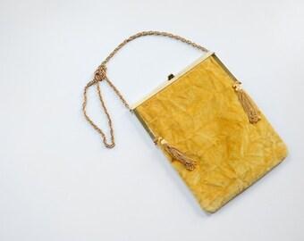 1960s Faye Mell Mustard Yellow Crushed Velvet Purse