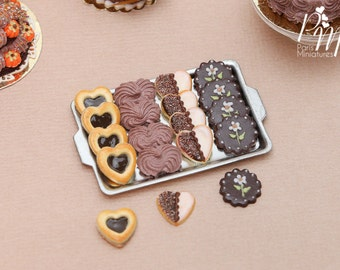 Chocolate Treats (Cookies, Meringues...) on Metal Baking Sheet - 4 Varieties, 3 Loose - Tiny Miniature Food in 12th Scale for Dollhouse