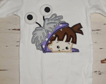 "Embroidered Iron On Applique- ""Girl Monster Peeker"""