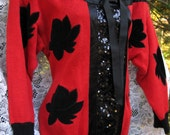 Larger Sized Red Black Sequined Sweater of Ramie and Cotton, made in 1989. tux tuxedo sequin style