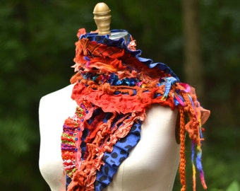 Orange blue textured SCARF, Wrap with ruffles. Colorful boho accessory