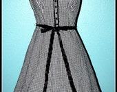 Vintage Rockabilly Black & White Check Dress with Cherry Detail...Size M