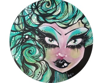 Painted LP Goth Pinup Girl with Aqua Hair and Black Lipstick