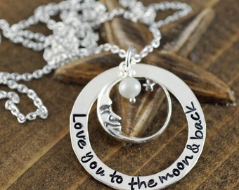 Love you to the Moon and Back Necklace, Personalized Moon and Back Necklace, Hand Stamped Jewelry, Mommy Necklace, Gift for Daughter