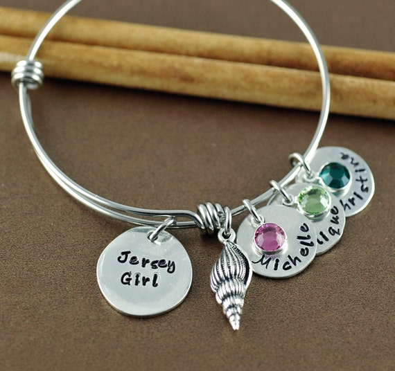 Jersey Girl Bracelet - Shell Jewelry - Hand Stamped Bangle Bracelet - Beach Jewelry - Gift for Beach Lover, Personalized Beach