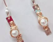 Silver and gold dangle earrings with pearl