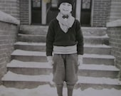 Antique Cabinet Photo-Young Boy,Snow,Steps,Stocking Hat,Sweater,Knickers,Boots