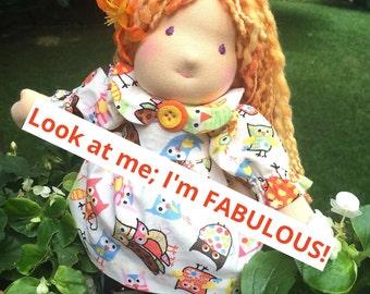 "12"" Waldorf Doll - Meagan - Hand-dyed Strawberry Blonde Wool Hair"