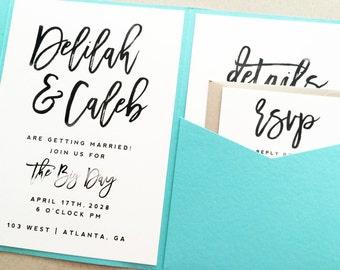 Wedding Invitation, Wedding Invite, Pocket Fold Wedding Invitation, Pocket Invitation, Pocketfold Wedding Invite Invitation Suite Set