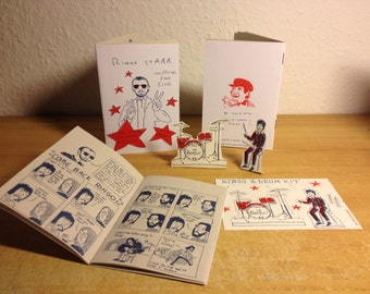 Ringo Starr Unofficial Fan Zine by Lizz Lunney and Wilm Lindenblatt Beatles Art + Free Drum Kit Postcard