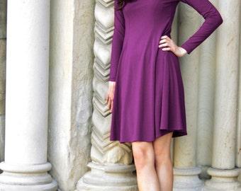 Marion Flared Dress - violet purple dress - long sleeve dress - day dress - knee length dress - little black dress - square neckline