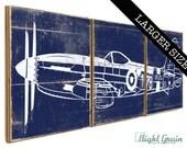LARGE Vintage Airplane 178 Wall Art - Old War Plane Decor - Nursery Decor - Boys Room Decor 16x48