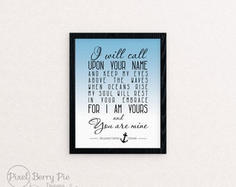 Oceans (Where Feet May Fail) by Hillsong United // 8x10 Poster, Christian Artwork // Custom Gifts, 8x10 Print, Wall Art // Ready to Ship