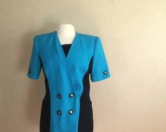 Vintage TURQUOISE and BLACK Blouse /  1980s Color Block Shirt / Womens Large