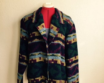 Vintage 90s SOUTHWESTERN ABSTRACT Blazer Jacket