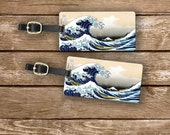 Luggage Tags Great wave Off Kanagawa Luggage Tag Set Printed Personalized Backs Luggage Tags - Full Metal Tags