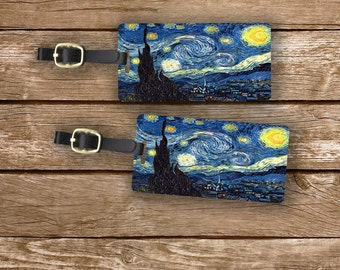 Personalized Luggage Tags Starry Starry Night - Full Metal Tags Luggage Tag Personalized Single Tag or Set Available
