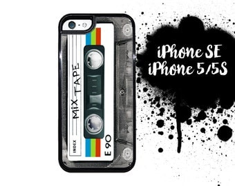 iPhone SE 5S Mix Tape iPhone 5S Case iPhone 5 Mix Tape Classic 80's Cassette Tape Rainbow Plastic or Rubber Case for iPhone 5 iPhone 5S