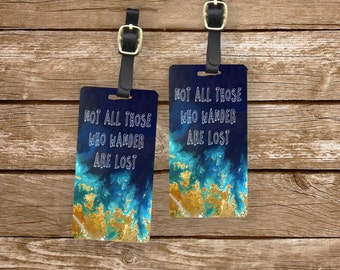 Personalized Luggage Tags Not All Those who Wander Coastal Earth Image -  Metal Tags with Printed Personalization